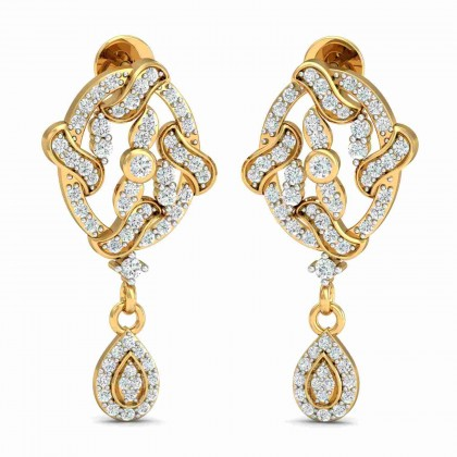 SHAREN DIAMOND DROPS EARRINGS in 18K Gold