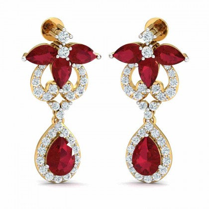 ELIZABET DIAMOND DROPS EARRINGS in Ruby & 18K Gold
