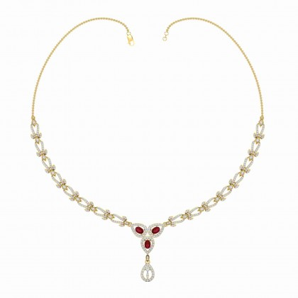 GEARLDINE DIAMOND  NECKLACE in 18K Gold
