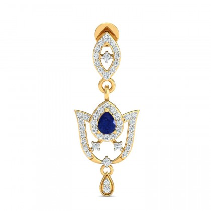 VERNIE DIAMOND DROPS EARRINGS in Sapphire & 18K Gold