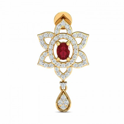 ROSALINE DIAMOND DROPS EARRINGS in Ruby & 18K Gold