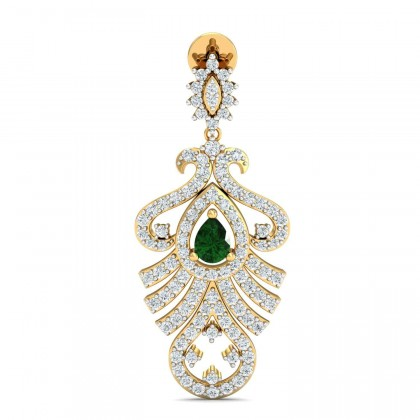 RANA DIAMOND DROPS EARRINGS in Emerald & 18K Gold