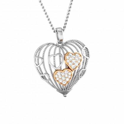 JEANICE   DIAMOND HEARTS PENDANT in 18K Gold