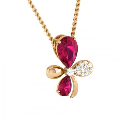 JANAY   DIAMOND FASHION PENDANT in Ruby & 18K Gold