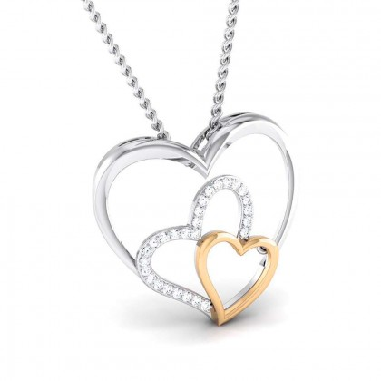 KRISTI   DIAMOND HEARTS PENDANT in 18K Gold