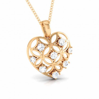 DEMETRIA   DIAMOND HEARTS PENDANT in 18K Gold