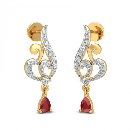 ANULA DIAMOND DROPS EARRINGS in Ruby & 18K Gold