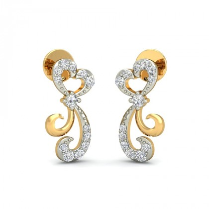 DANYA DIAMOND STUDS EARRINGS in 18K Gold