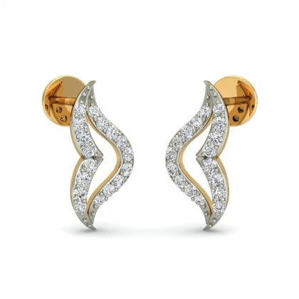 AURA DIAMOND STUDS EARRINGS in 18K Gold