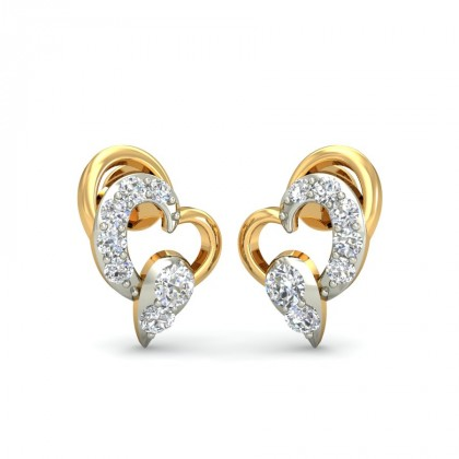 LOVELY DIAMOND STUDS EARRINGS in 18K Gold