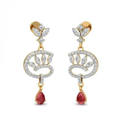 MOHINI DIAMOND DROPS EARRINGS in Ruby & 18K Gold