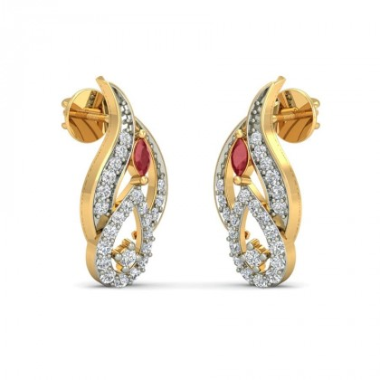 CHANDI DIAMOND STUDS EARRINGS in Ruby & 18K Gold