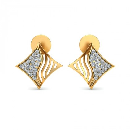AILA DIAMOND STUDS EARRINGS in 18K Gold