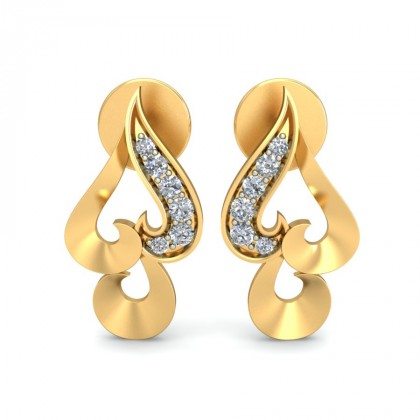 BIJLI DIAMOND STUDS EARRINGS in 18K Gold