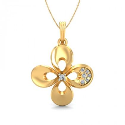 ZISYA DIAMOND FLORAL PENDANT in 18K Gold