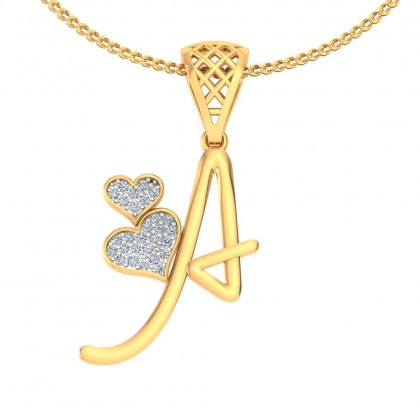 ANJALI DIAMOND INITIALS PENDANT in 18K Gold
