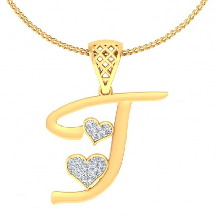 BAY DIAMOND INITIALS PENDANT in 18K Gold