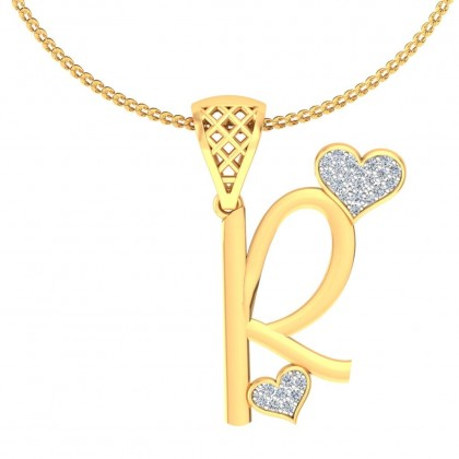 CANDACE DIAMOND INITIALS PENDANT in 18K Gold