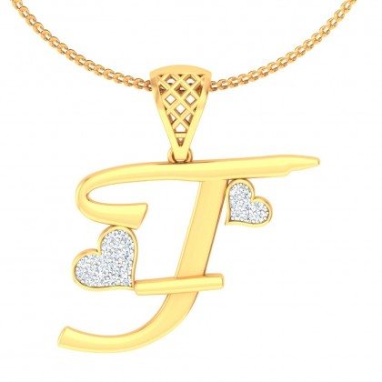ARPITA DIAMOND INITIALS PENDANT in 18K Gold