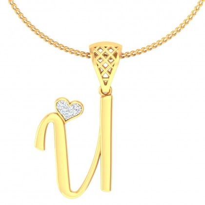 TIYA DIAMOND INITIALS PENDANT in 18K Gold