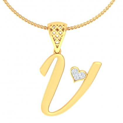 STACY DIAMOND INITIALS PENDANT in 18K Gold