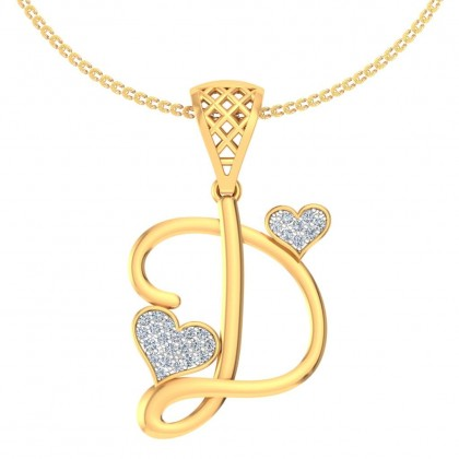 ROYA DIAMOND INITIALS PENDANT in 18K Gold