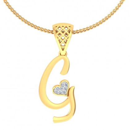 VEDHA DIAMOND INITIALS PENDANT in 18K Gold