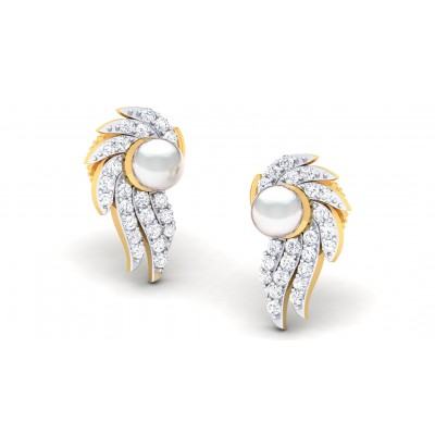 MADILYN DIAMOND STUDS EARRINGS in Pearl & 18K Gold