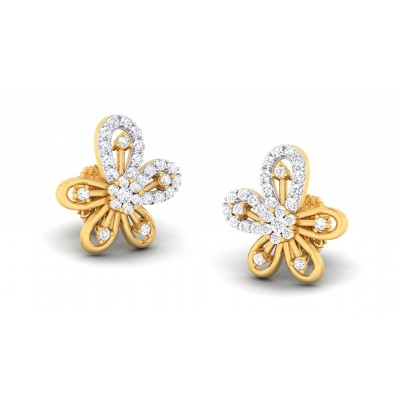 BRITNEY DIAMOND STUDS EARRINGS in 18K Gold