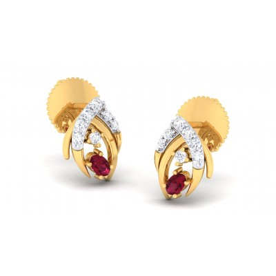 RUCHI DIAMOND STUDS EARRINGS in Ruby & 18K Gold