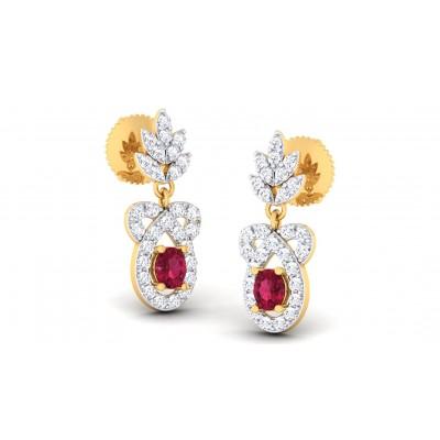 KATHY DIAMOND DROPS EARRINGS in Ruby & 18K Gold