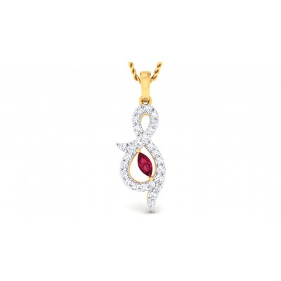 SANVI DIAMOND FASHION PENDANT in Ruby & 18K Gold