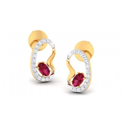 MAYLIN DIAMOND STUDS EARRINGS in Ruby & 18K Gold