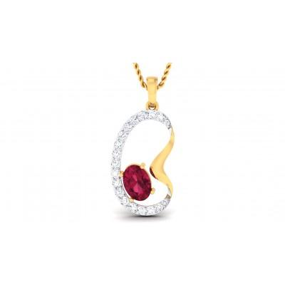 VARTIKA DIAMOND FASHION PENDANT in Ruby & 18K Gold