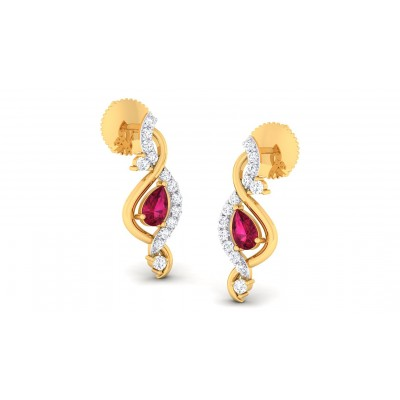 ADRIKA DIAMOND STUDS EARRINGS in Ruby & 18K Gold