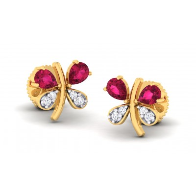 ASHLYN DIAMOND STUDS EARRINGS in Ruby & 18K Gold