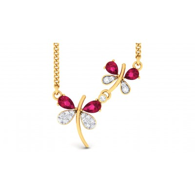AVAH DIAMOND FLORAL PENDANT in Ruby & 18K Gold