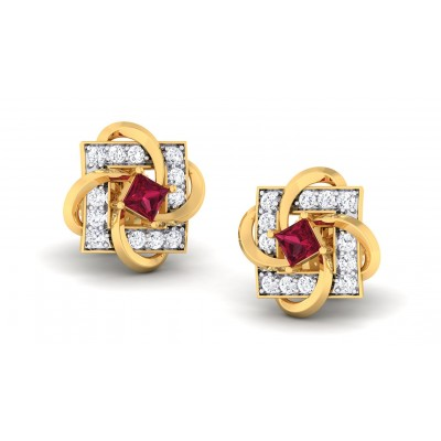 LOPA DIAMOND STUDS EARRINGS in Ruby & 18K Gold