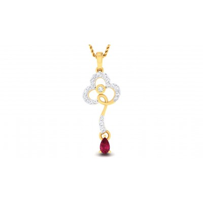 AMIRAH DIAMOND FLORAL PENDANT in Ruby & 18K Gold