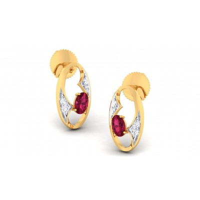 JYOTSNA DIAMOND STUDS EARRINGS in Ruby & 18K Gold