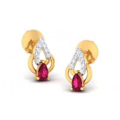 ELINA DIAMOND STUDS EARRINGS in Ruby & 18K Gold