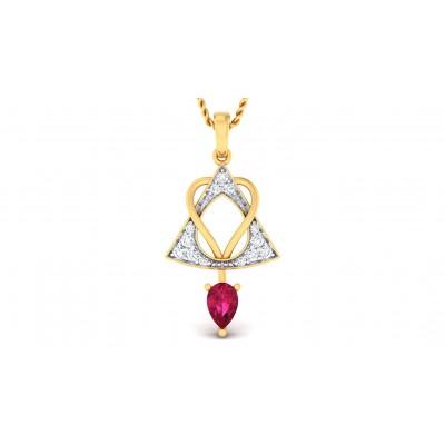 ZOHRA DIAMOND HEARTS PENDANT in Ruby & 18K Gold