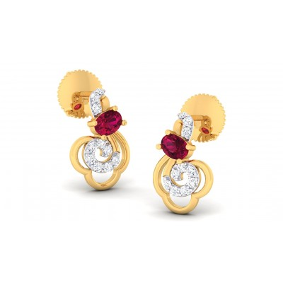 KHLOE DIAMOND STUDS EARRINGS in Ruby & 18K Gold