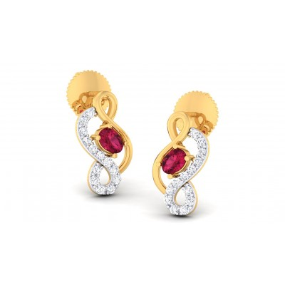 BLAKELY DIAMOND STUDS EARRINGS in Ruby & 18K Gold