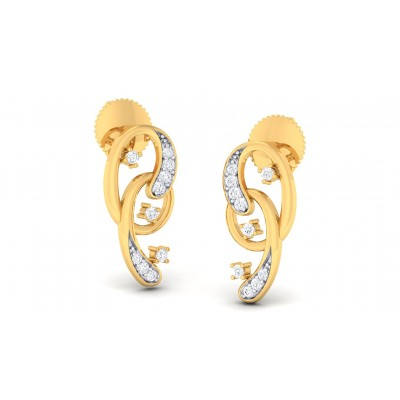 LOTUS DIAMOND STUDS EARRINGS in 18K Gold