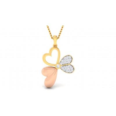 ASPEN DIAMOND HEARTS PENDANT in 18K Gold