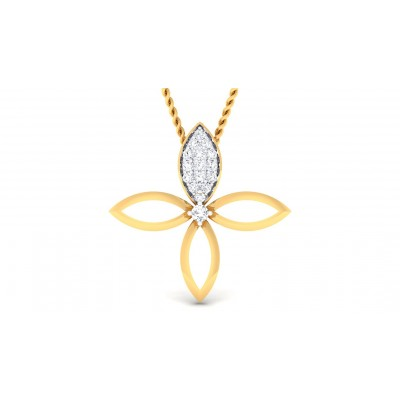 KUNSHI DIAMOND FLORAL PENDANT in 18K Gold
