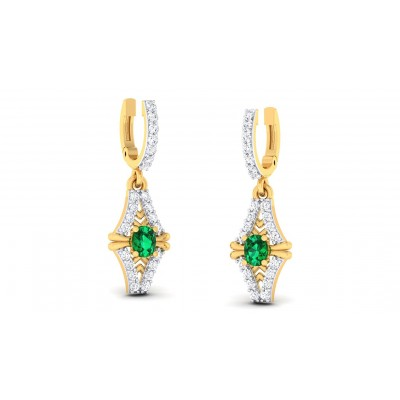 GODAVRI DIAMOND DROPS EARRINGS in Emerald & 18K Gold