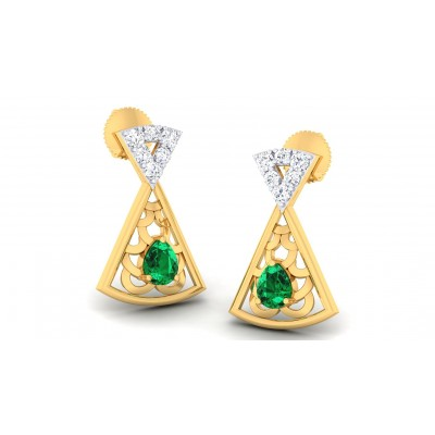 AMOLIKA DIAMOND STUDS EARRINGS in Emerald & 18K Gold