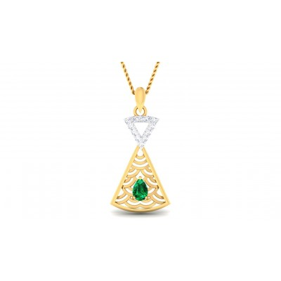 DINA DIAMOND FASHION PENDANT in Emerald & 18K Gold